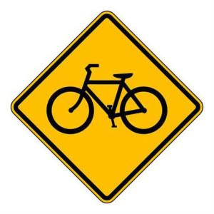 señal amarilla de bicicleta