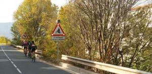 nueva señal de tráfico ciclistas en curva